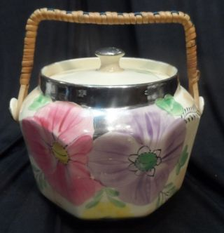 Floral Decorated With Silver Trim England Biscuit Jar Wicker Handle photo