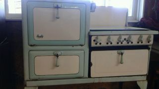 Antique Gas Stove Green /white Quality Co photo