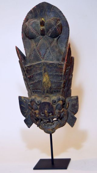 Fantastic Old Demon Mask Carving From Bali,  Indonesia,  Vintage Example photo