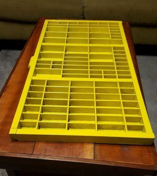 Yellow Antique Vtg Hamilton Wood Box Tray Cabinet Shelf Printing Drawer Case photo