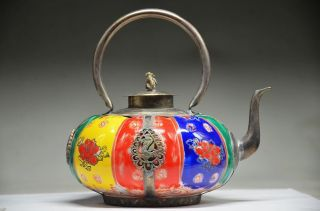 Chinese Silver Inlaid Porcelain Handwork Carved Monkey Teapot photo
