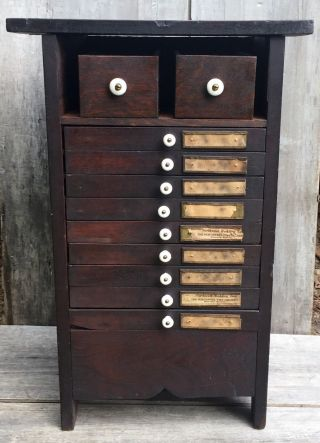 Antique Typesetters Printers Tray Cabinet Table W/ 9 Drawers & Cubby Shelf 1870 photo
