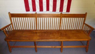 Antique Windsor Deacon ' S Bench.  8 Legs.  41 Spindles.  Bamboo - Shaped Turnings.  80