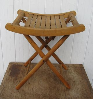 Vintage 1950s Folding Slat Solid Wood Camp Stool Stand Yugoslavia Nevco photo