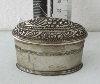 Ornate Antique Silver Betelnut Betel Nut Lime Box 19th C. photo