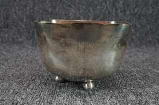 Vintage 3 Footed Square Rim Silverplate Candy/nut Bowl 4 1/2