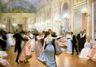 Large Old Vintage Gilbert Art Print C19th Victorian Society Elegant Soiree Dance photo