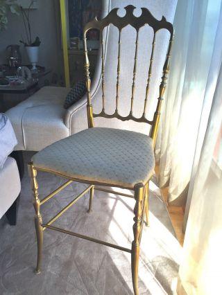 Vintage Brass Chiavari Chair Italian Hollywood Regency photo
