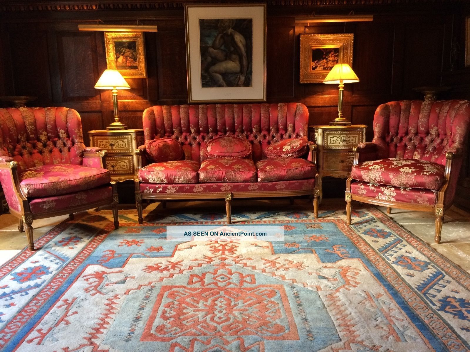 Stunning French Antique Style Louis Xv Sofa Suite Settee And Two Armchairs Wow 1900-1950 photo