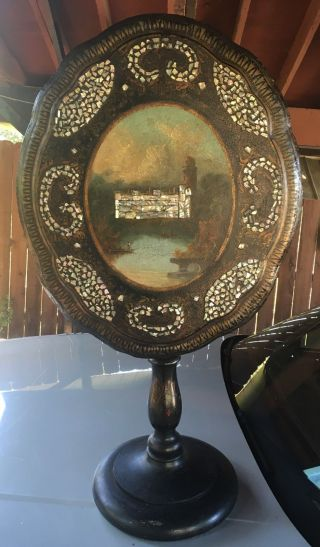 Unique Victorian Paper Mache And Inlaid Mother Of Pearl Tip Table,  Warwick,  Ca photo