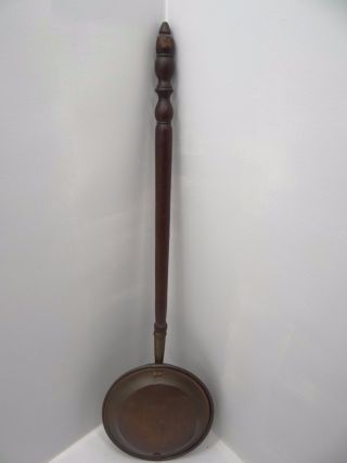 Antique Old Brass Copper Metal Bed Warmer Primitive Tool Heater Hotpot photo