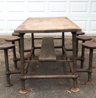 Early Antique Industrial Cafeteria Stool Work Table Island 1920s 1930s Orig Vtg photo