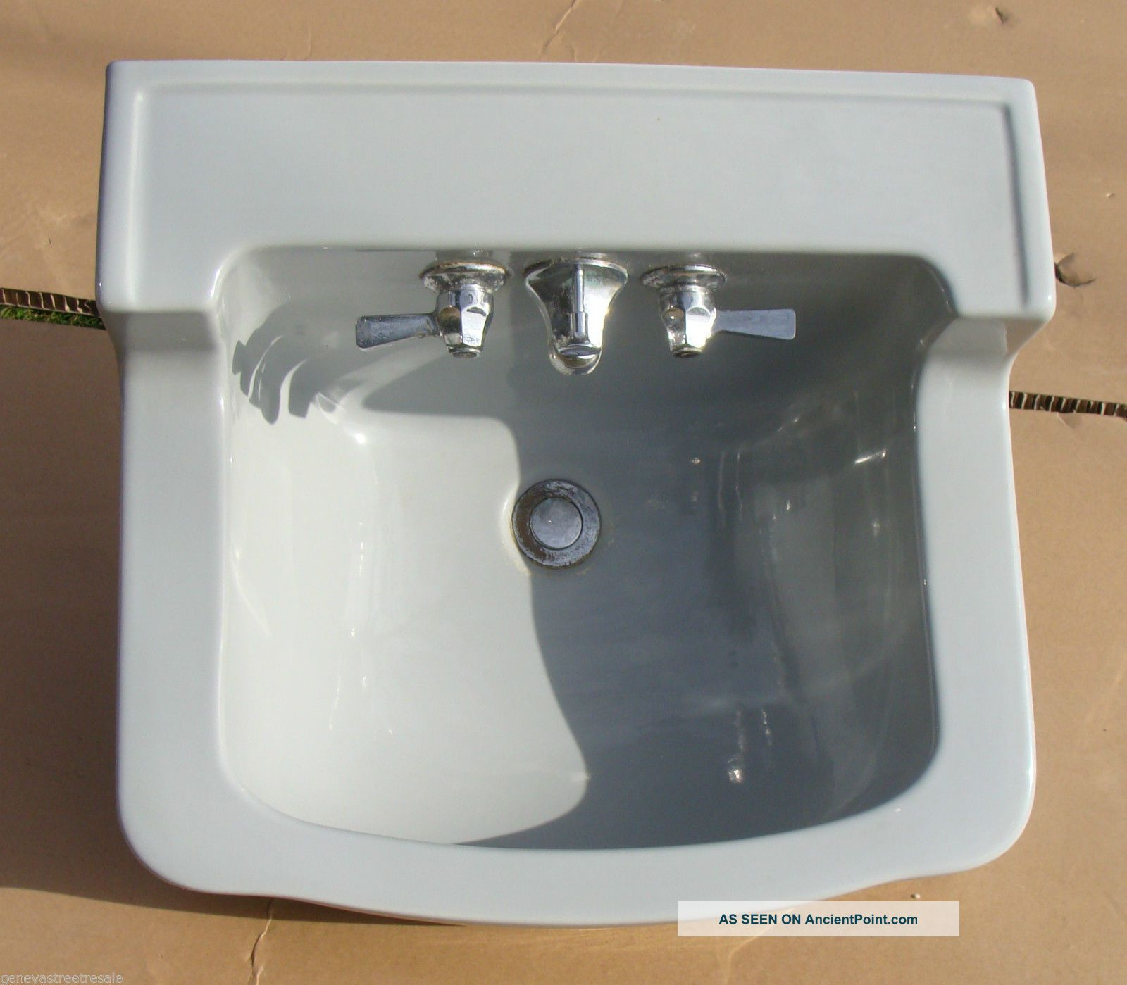 Vintage Briggs Bathroom Kitchen Light Gray Porcelain Sink W/fixtures Mid Century Sinks photo
