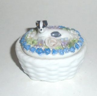 German Elfinware Porcelain Box With Dog On Top photo