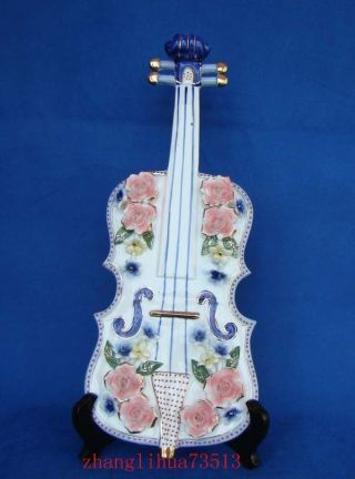 Chinese Handmade Porcelain Violin Art Deco 18.  11