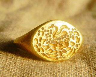 Rare Ancient Roman Solid Gold Ring Swan Intaglio Only One Piece Size11 photo