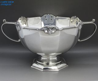 Antique Stunning Heavy Solid Sterling Silver Twin Handled Rose Bowl,  807g,  1918 photo
