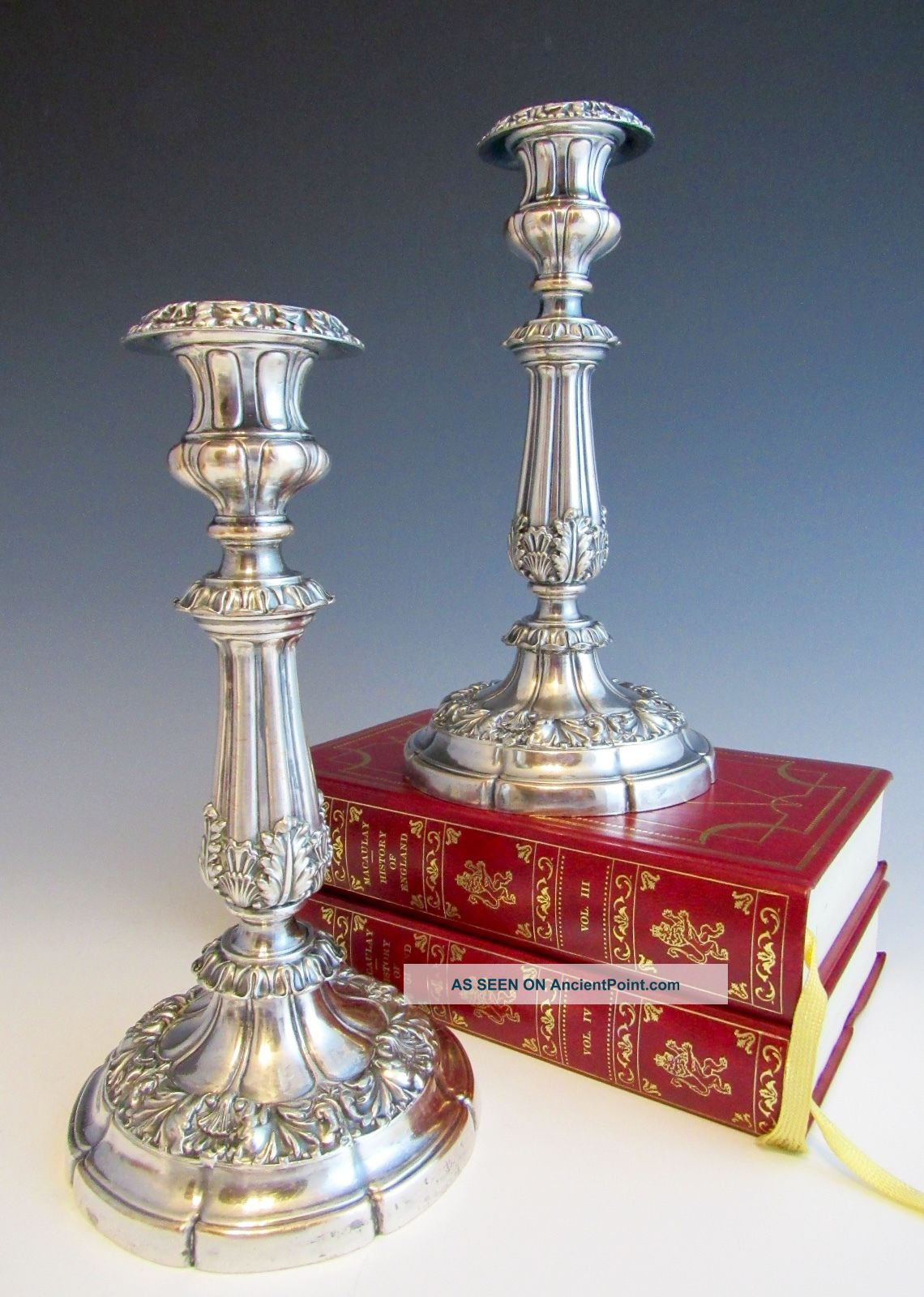 Pair Antique Old Sheffield Silverplate Early 19th Century Candlesticks Silver Candlesticks & Candelabra photo