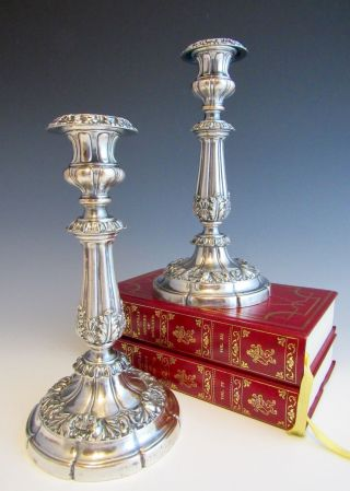 Pair Antique Old Sheffield Silverplate Early 19th Century Candlesticks Silver photo