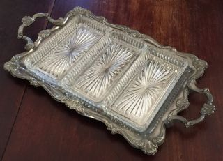 Vintage Silverplate Tray Rectangle Scroll Design Hong Kong 3 Glass Insert Trays photo