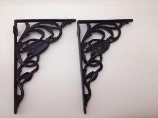 Pair (2) Antique Victorian Cast Iron Shelf Brackets W/ Birds Large 10 1/4