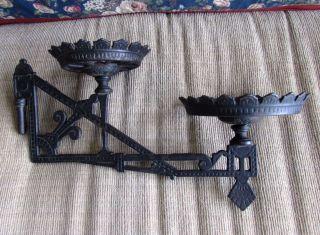 Antique Eastlake Cast Iron Black Double Oil Kerosene Lamp Bracket Plant Holder photo