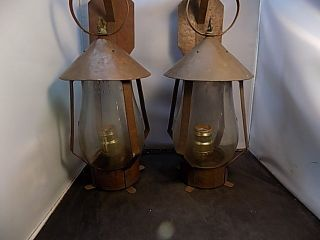 Vintage Art Arts And Crafts Hand Hammered Copper Sconces Pair photo