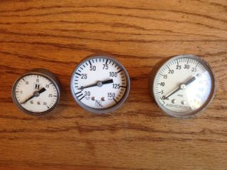 3 Vintage Pressure Gauges Steampunk Industrial Art,  2 Ashcroft & Honeywell Usa photo