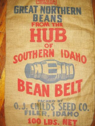 Vintage Antique Northern Beans Filer Idaho Childs Seed Co.  Burlap Bag Gunny Sack photo