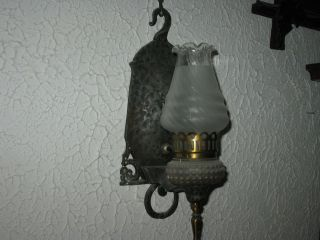 Antique Rare Silver Pewter Clr Metal Eletric Oil Lamp Wall Sconce Light Spanish photo