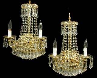 Pair Vintage Hollywood Regency Crystal Prisms Wedding Cake Wall Sconces Lamps photo