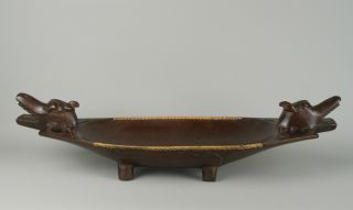 An Unusual Carved Wood Kava Bowl - Dayak (dyak),  Borneo. photo