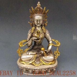 Chinese Silver Copper Gilt Tibetan Buddhism Statue - - - Vajrasattva Buddha photo