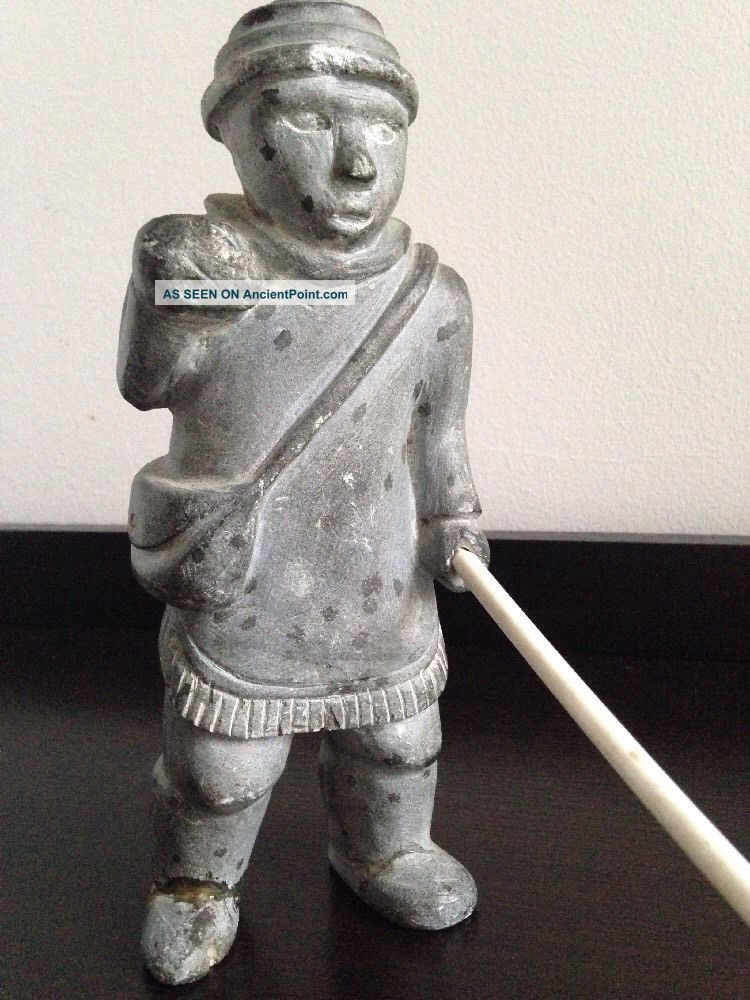 Inuit Hand Carved Soapstone Figure Of An Eskimo Holding A Spear - A/f Native American photo