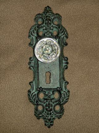 Cast Iron Decorative Door Knob Acrylic Glass Knob Pull Green Antique Finish photo
