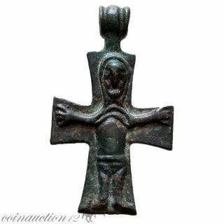 Museum Quality Byzantine Religious Bronze Cross Pendant photo