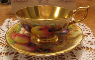 Aynsley Gold Fruit Orchard Tea Cup And Saucer Signed photo