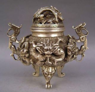 Collectible Decorated Old Handwork Tibet Silver Carved Dragon Incense Burner photo