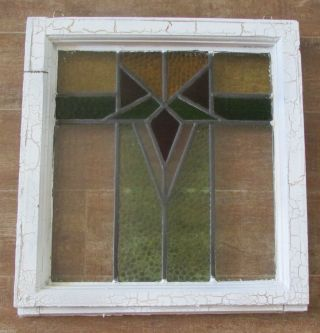 Vintage Stained Glass Window Frame Art Deco Red Antique House Architectural photo