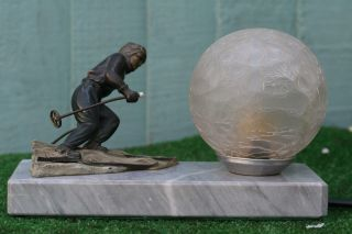 Orig.  Art Deco Lamp With Cold Painted Spelter Skiing Male Figure C1930s photo