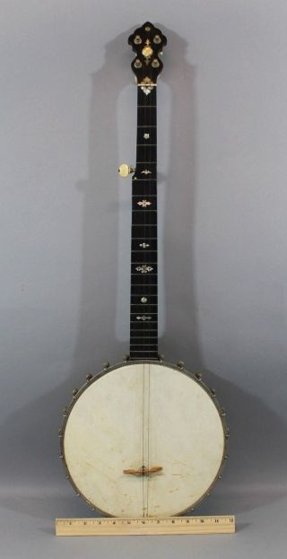Antique Early - 20thc Mop Inlaid,  Washburn 5 - String Carved Neck Banjo,  Nr photo