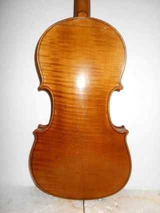 Old Antique Vintage 1 Pc Curly Maple Back Full Size Violin - photo