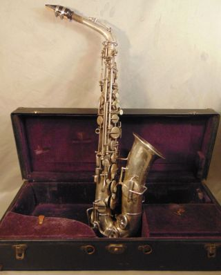 Antique Buescher Alto Silver Plated Saxophone Low Pitch True Tone photo