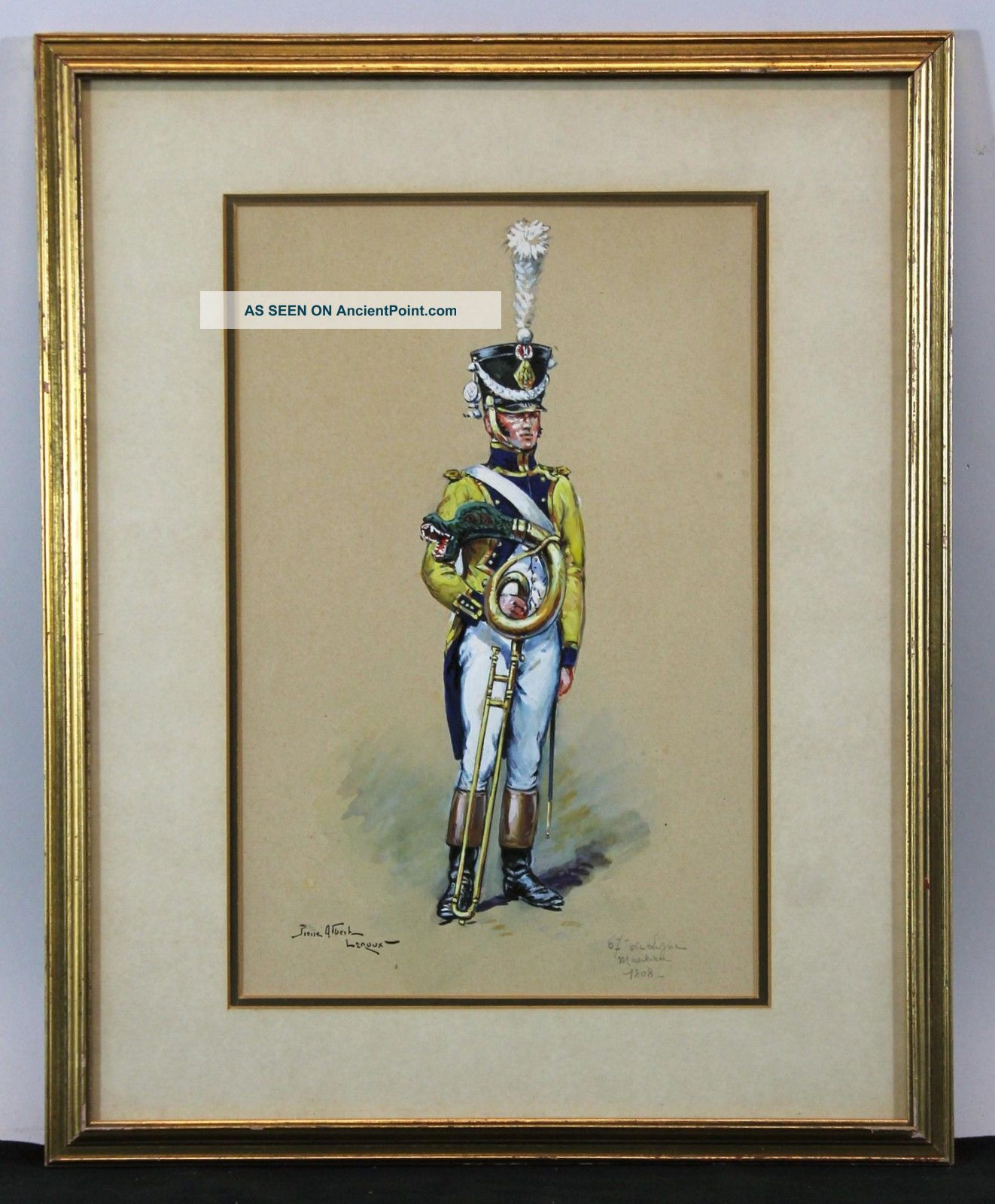 Antique Pierre Albert Leroux 1808 French Infantry Musician Watercolor Painting, Brass photo