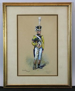 Antique Pierre Albert Leroux 1808 French Infantry Musician Watercolor Painting, photo