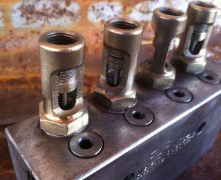 Vintage Brass Manifold Valve Farval U.  S.  A Steampunk Industrial Metal Art Dm34 photo
