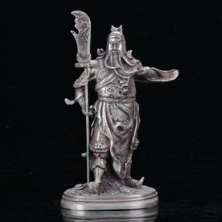 Old Chinese Tibet Silver Hand Carved General Guan Yu Statue C532 photo
