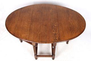 Antique Oak Dining Table Gateleg Folding Table Country Kitchen Barley Twist Drop photo