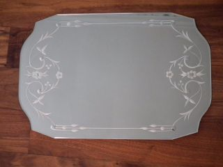 Vintage 1950 ' S Mid Century Mirror Art Deco Vanity Dresser Beveled Etched Tray photo