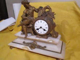 Antique Cast Iron Marble Based Figural Mantle Shelf Clock Art Nouveau - photo